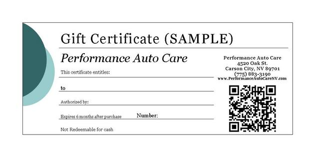 Performance auto care carson city nevada for Automotive gift certificate template free